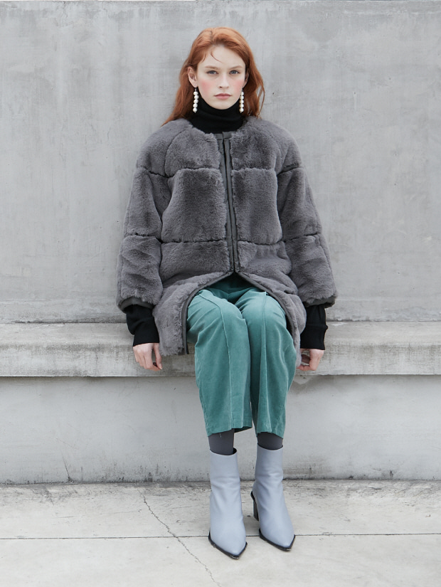 19FW 2ND ECO FUR LONG COAT_gray